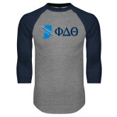 Grey/Navy Raglan Baseball T Shirt-Indiana w/ Greek Letters