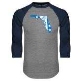 Grey/Navy Raglan Baseball T Shirt-Florida