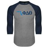 Grey/Navy Raglan Baseball T Shirt-Florida w/ Greek Letters