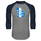 Grey/Navy Raglan Baseball T Shirt-Georgia