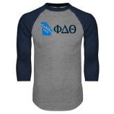 Grey/Navy Raglan Baseball T Shirt-Georgia w/ Greek Letters