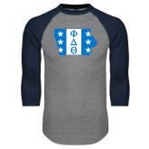 Grey/Navy Raglan Baseball T Shirt-Iowa