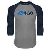 Grey/Navy Raglan Baseball T Shirt-Iowa w/ Greek Letters