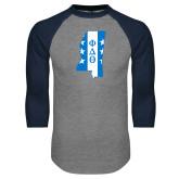 Grey/Navy Raglan Baseball T Shirt-Mississippi