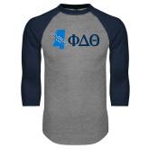 Grey/Navy Raglan Baseball T Shirt-Mississippi w/ Greek Letters