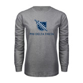 Grey Long Sleeve TShirt-Stacked Shield/Phi Delta Theta