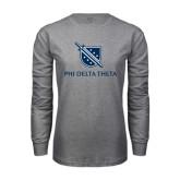 Grey Long Sleeve TShirt-Stacked Shield/Phi Delta Theta