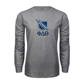 Grey Long Sleeve TShirt-Stacked Shield/Phi Delta Theta Symbols