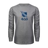 Grey Long Sleeve TShirt-Stacked Shield/Phi Delta Theta Symbols
