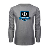 Grey Long Sleeve T Shirt-Iron Phi Shield