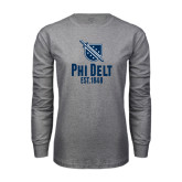 Grey Long Sleeve T Shirt-Phi Delt Est 1848