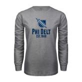 Grey Long Sleeve T Shirt-Phi Delt Est 1848