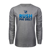 Grey Long Sleeve T Shirt-RUSH Phi Delt