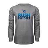 Grey Long Sleeve T Shirt-RUSH Phi Delt