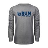 Grey Long Sleeve T Shirt-Run Phi Delt
