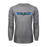 Grey Long Sleeve T Shirt-Phi Delt Star & Stripes