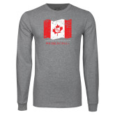 Grey Long Sleeve T Shirt-Phi Delta Theta Canadian Flag Design