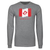 Grey Long Sleeve T Shirt-Phi Delta Theta Canadian Flag Design