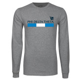 Grey Long Sleeve T Shirt-Phi Delta Theta Bar w/ Logo