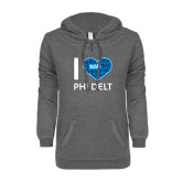 ENZA Ladies Dark Heather V-Notch Raw Edge Fleece Hoodie-I Heart Phi Delt
