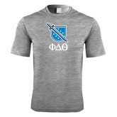 Performance Grey Heather Contender Tee-Stacked Shield/Phi Delta Theta Symbols