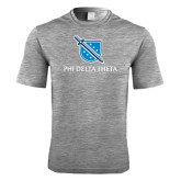 Performance Grey Heather Contender Tee-Stacked Shield/Phi Delta Theta