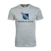 Next Level SoftStyle Heather Grey T Shirt-Stacked Shield/Phi Delta Theta