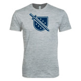 Next Level SoftStyle Heather Grey T Shirt-Sword and Shield