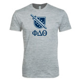 Next Level SoftStyle Heather Grey T Shirt-Stacked Shield/Phi Delta Theta Symbols