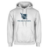 White Fleece Hoodie-Stacked Shield/Phi Delta Theta