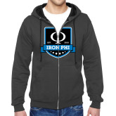 Charcoal Fleece Full Zip Hoodie-Iron Phi Shield