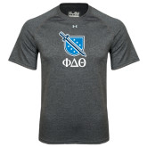 Under Armour Carbon Heather Tech Tee-Stacked Shield/Phi Delta Theta Symbols