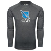 Under Armour Carbon Heather Long Sleeve Tech Tee-Stacked Shield/Phi Delta Theta Symbols