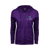 ENZA Ladies Purple Fleece Full Zip Hoodie-Stacked Shield/Phi Delta Theta