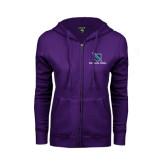 ENZA Ladies Purple Fleece Full Zip Hoodie-Stacked Shield/Phi Delta Theta