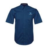 Navy Twill Button Down Short Sleeve-Stacked Shield/Phi Delta Theta