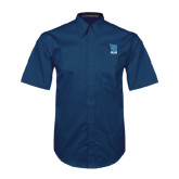 Navy Twill Button Down Short Sleeve-Stacked Shield/Phi Delta Theta Symbols