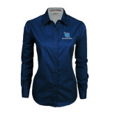 Ladies Navy Twill Button Down Long Sleeve-Stacked Shield/Phi Delta Theta