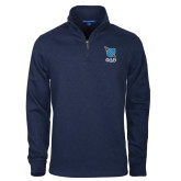 Navy Slub Fleece 1/4 Zip Pullover-Stacked Shield/Phi Delta Theta Symbols