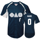 Replica Navy Adult Baseball Jersey-Greek Letters in Tackle Twill