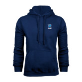 Navy Fleece Hoodie-Stacked Shield/Phi Delta Theta Symbols