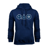 Navy Fleece Hoodie-Greek Letters in Tackle Twill