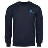 Navy Fleece Crew-Stacked Shield/Phi Delta Theta