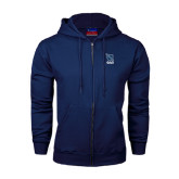 Navy Fleece Full Zip Hoodie-Stacked Shield/Phi Delta Theta Symbols