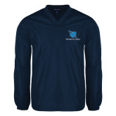 V Neck Navy Raglan Windshirt-Stacked Shield/Phi Delta Theta