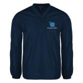 V Neck Navy Raglan Windshirt-Stacked Shield/Phi Delta Theta