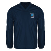 V Neck Navy Raglan Windshirt-Stacked Shield/Phi Delta Theta Symbols