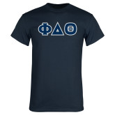 Navy T Shirt-Greek Letters in Tackle Twill
