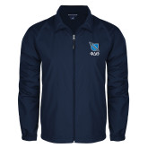 Full Zip Navy Wind Jacket-Stacked Shield/Phi Delta Theta Symbols