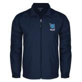 Full Zip Navy Wind Jacket-Stacked Shield/Phi Delta Theta Symbols